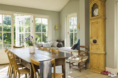 Grandfather clock by kitchen table