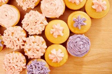 High angle view of fresh cupcakes on table