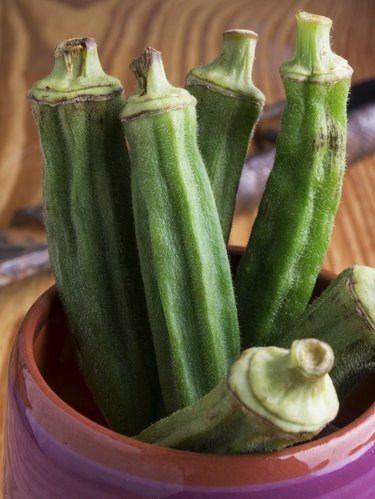 Group of green okra in a ceramic pot
