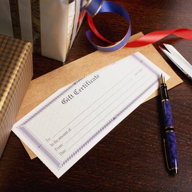 Blank gift certificate and fountain pen