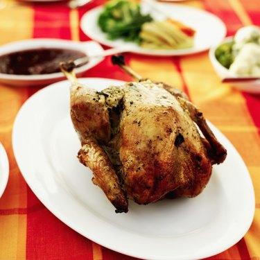 Roast turkey on a dinner table