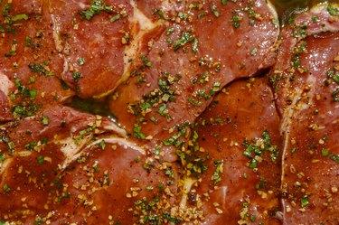 Marinating rib-eye steaks