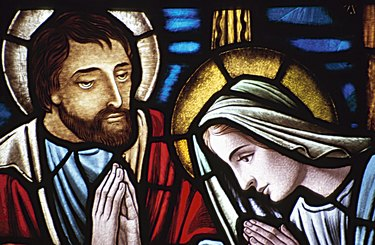 Stained glass portrait of Joseph and Mary