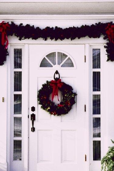 Christmas decorations on front door