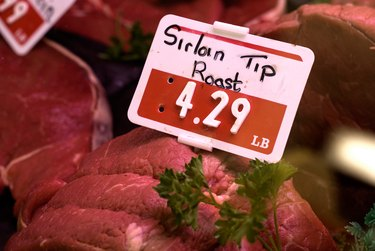Close-up of price tag for sirloin tip roast