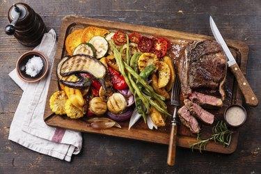 Club Beef steak and Grilled vegetables