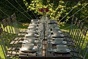 Covered garden table