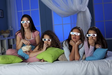 Teenagers wayching 3-D movie