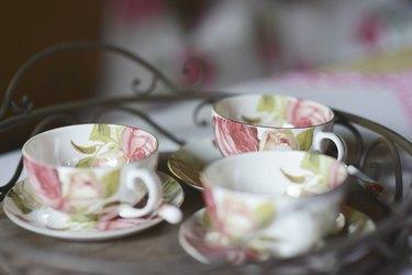 Close up of tea cups