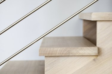 Detail of modern wooden stairs
