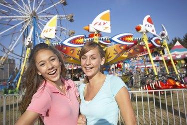 Smiling girls at fair