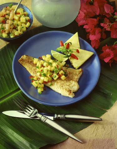 Snapper fillet with pineapple salsa