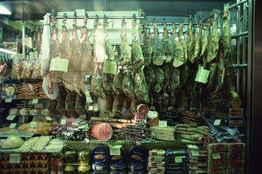 Meat hanging in deli