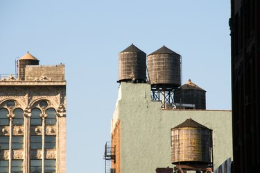 Water towers in a city