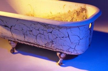 Dirty cast iron bathtub