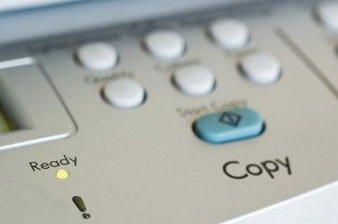 Close-up of control panel on copy machine
