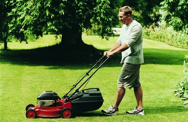 Man Mowing His Lawn During Summer