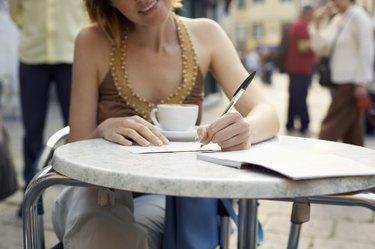 Vacationing Woman at Cafe
