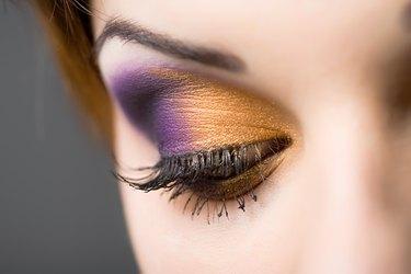 Woman wearing colorful eye shadow