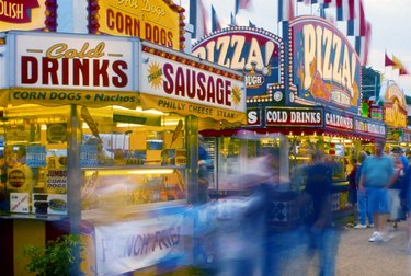 Food stands with elaborate signs