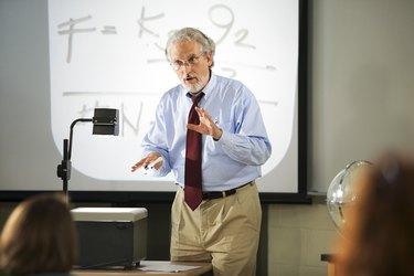 Teacher with overhead projector