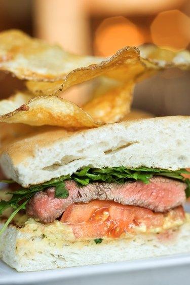 Close-up of steak sandwich