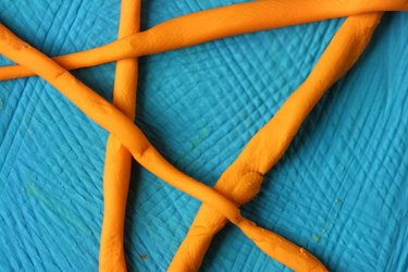 Orange and blue modeling clay