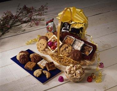 Assorted gift basket of baked goods