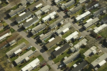 Aerial view of mobile homes in Grove Beach, Connecticut