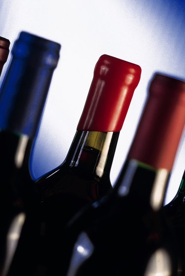 Close-up of bottles of wine