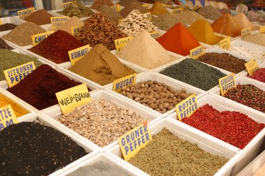 Seasonings and spices in market