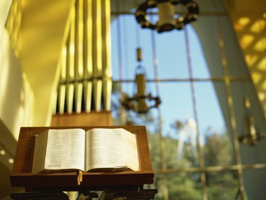 bible on a lectern in church