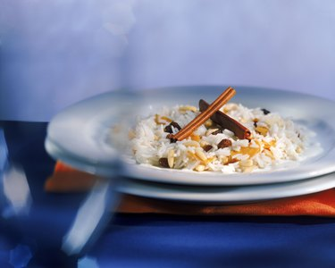 Risotto with cinnamon in plate, selective focus