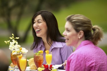 Women eating outdoors