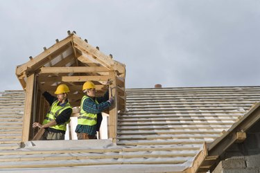 Construction workers in house