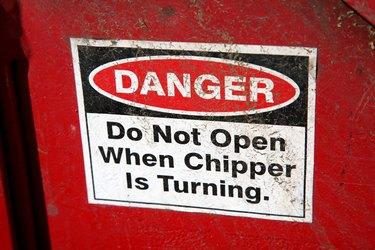 Danger sign on woodchipper
