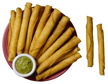 Taquitos with guacamole