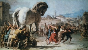 The procession of the wooden horse of Troy painting by Tiepolo
