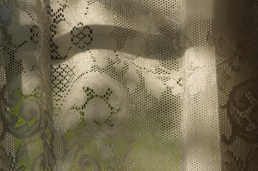 Close-up of lace curtain