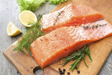 salmon fish fillet with fresh herbs