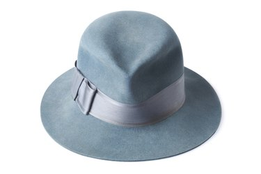 blue male felt hat isolated on white background