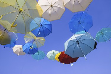 Colorful umbrellas with blue sky background