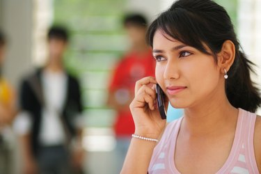 Portrait of a woman using a cell phone