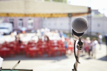 Street party. Microphone on stage.