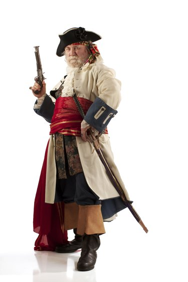 Classic bearded pirate captain in defiant pose
