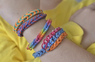 Little boy with loom band bracelets
