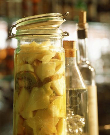 Jar of pickled fruit