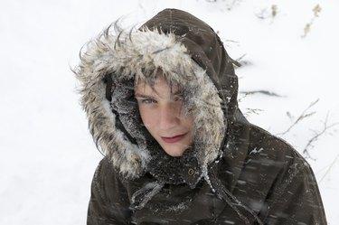 Boy in snow storm