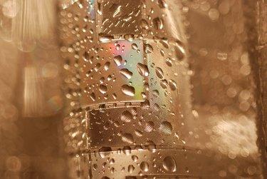 Wet Shower Curtain in Dim Light