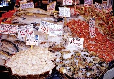 Seafood at Pike Market in Seattle, Washington, USA